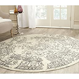 Safavieh Adirondack Collection ADR101B Ivory and Silver Round Area Rug, 4 feet in Diameter (4\' Diameter)