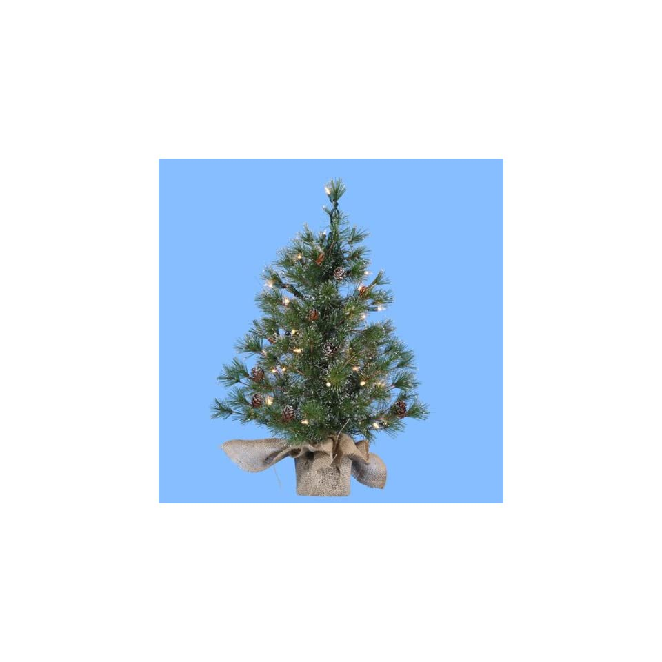 2 Pre Lit Silver Pine Artificial Christmas Tree in Burlap Bag   Clear Lights
