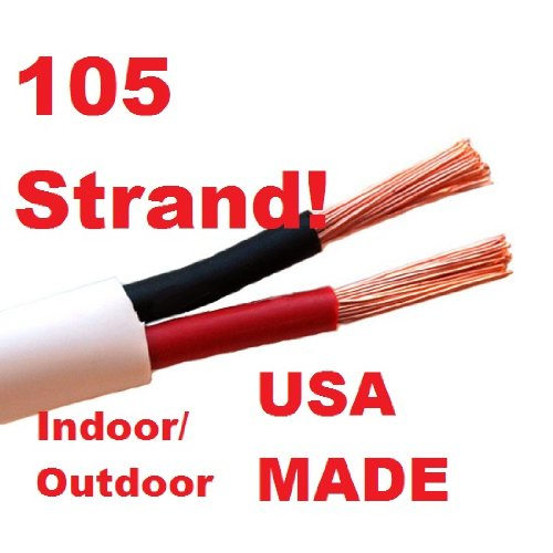 """White - 14/2 Awg 50Ft Increments Direct Burial Db And Cl3 In Wall Rated - Speaker Wire Or Low Voltage Path Lighting Cable - Indoor/Outdoor - Premium 105 Strand Per Conductor - Home/Outdoor Audio - Ul Listed - Certified """"Green"""" Safe - Made In The Usa"""