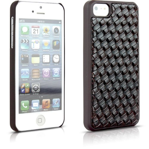 Aleratec Dual Material Hard Shell Protective Case And Leather Weave Texture Snap On Back Cover Case For Iphone 5S / 5 Brown