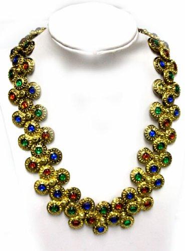 Byzantine Inspired Gold Coated Gemstone Necklace - Fashion Necklace