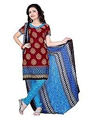Craftliva Maroon & Sky Printed Crepe Dress Material