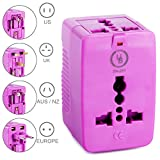 Yubi Power Dual Outlet Travel Adapter with 2 Universal Outlets - Built In Surge Protector and Neon Light Indicator - Foldable Prongs for Type A, C, G, and I Outlets | Works In 150+ Countries