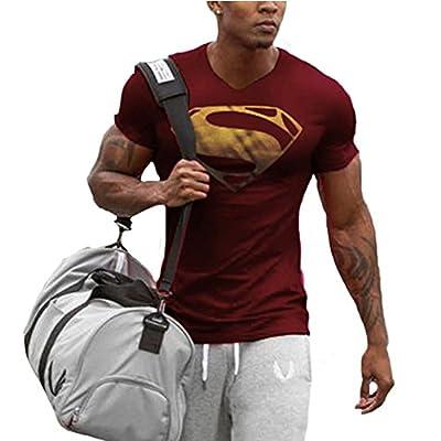 Men's Superman V-neck T-Shirts Bodybuilding Muscle Training Short Sleeve M