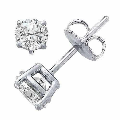 Classic Sterling Silver .925 Cubic Zirconia Stud Earrings Set in Basket Settings, 1.00 Carat Total Total Weight, Half a Carat Each White Cubic Zirconia Stone