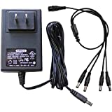 GW Security AC/DC 12-Volt 2-Amp  Power Adapter Supply and 1 to 4 Power Splitter Cable for CCTV Security Camera (12V 2A)