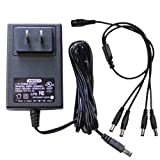 GW Security AC/DC 12-Volt 2-Amp  Power Adapter Supply and 1 to 4 Power Splitter Cable for CCTV Security Camera (12V 2A) thumbnail