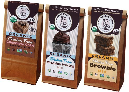 Gluten Free Chocolate Lover's Bundle - Chocolate Cake Mix, Chocolate Frosting Mix, and Chocolate Brownie Mix - Organic, Vegan, Non-GMO, GF, Dairy Free