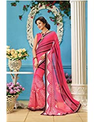 AG Lifestyle Peach Faux Georgette Saree With Unstitched Blouse AKS2028