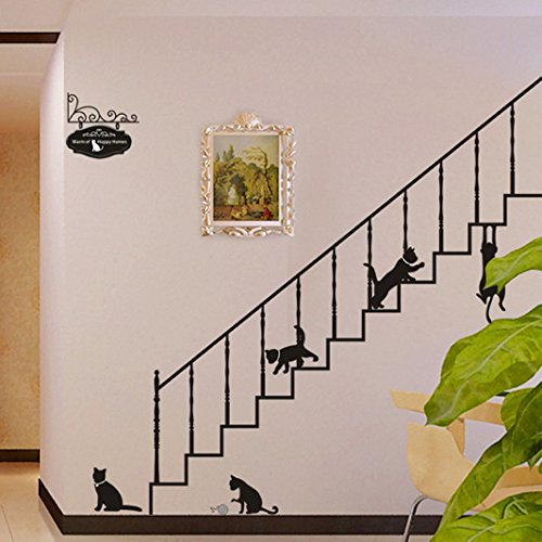 Theme Decal (Tm) 210*200Cm Large Size Cartoon Cats Stairs Wall Stickers Kid'S Room Nursery School Removable Home Decals Pvc Art Decoration Mural Wall Decal Home Decor Bedroom Sitting Room Window Sofa Tv Background Vinyl Diy Art Decals front-873401