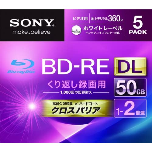 SONY ビデオ用BD-RE 書換型 片面2層50GB 2倍速 ホワイトプリンタブル 5枚パック 5BNE2VGPS2