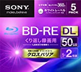 Sony Blu-ray Rewritable Disc | BD-RE 50GB DL 2x Ink-jet Printable 5 Pack | 5BNE2VGPS2 (Japanese Import)