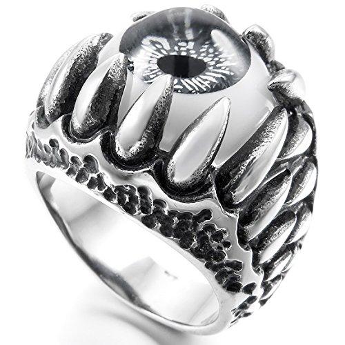 [Men's Stainless Steel Ring Silver Tone Black Grey White Skull Dragon Claw Evil Devil Eye Size11] (Evil Eye Skull Costumes)