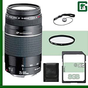 Canon 75-300mm III USM Lens + 8GB Green's Camera Package 4