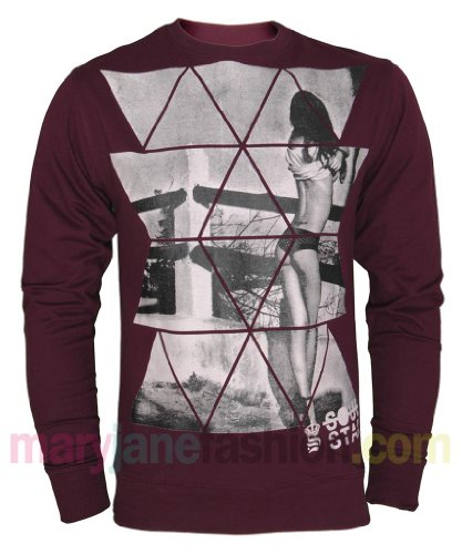 Mens Soulstar Branded Explicit Lingerie Back Girl Jumper Sweatshirt XL Burgundy