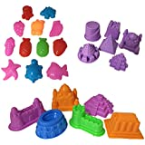 Sand Molding Toy Activity Set. 24 Piece Small Kids Sand Deluxe Sculpture Lot. Compatible with Kinetic Sand, Brookstone Sand, Moon Sand, Any Molding Sand