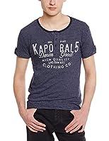 Kaporal - T-shirt - À rayures - Col boutonné - Manches courtes - Homme