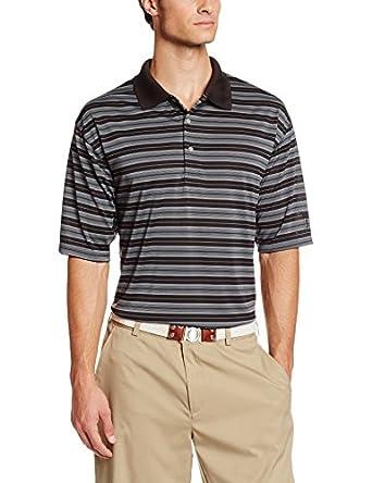 PGA TOUR Men's Big and Tall Short Sleeve Airflux Stripe Polo Shirt, Caviar, 2X-Large/Big