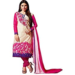 Fabtantra Womens Cotton Straight Dress Material (10081 -Pink -Free Size)