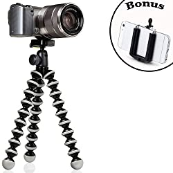 Joby GorillaPod Hybrid Flexible Tripod (Gray) for Compact System Cameras and for Action Cameras and a Bonus IVATION Universal Smartphone Tripod Mount Adapter works for iPhone 5,5s, 6, 6 Plus, HTC One, Galaxy S2, S3, S4, S5, S6, Blackberry Z10,Q10, Motorola Droid and Most Smartphones
