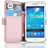 JAMMYLIZARD   Luxuriös Wallet Ledertasche Hülle für Samsung Galaxy S4 Mini, PFIRSICHROSA