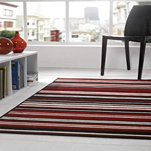 Flair Rugs Element Canterbury Striped Runner, Red/Black, 60 x 220 Cm by Flair Rugs