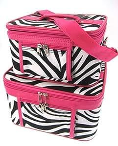 2-Piece Set - Zebra Print Cosmetic Cases w/ Fuchsia Trim