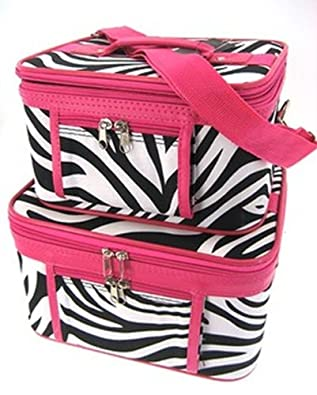 Train Case Cosmetic Toiletry 2 Piece Luggage Set Hot Pink Trim Black & White Zebra Print