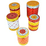 Kaushalam's Hand Painted Canister Set Of 5Weight: 1660grams
