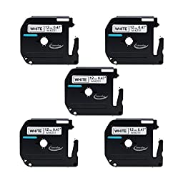 Anycolor 5 Pack Compatible Brother P-touch M Tape M231 Black on White Label Tape (0.47 Inch x 26.2 Feet 12mm x 8m)