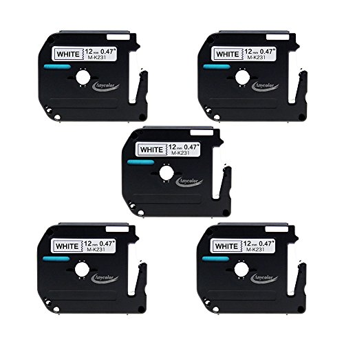 Anycolor 5 Pack Compatible Brother P-touch M Tape M231 Black on White Label Tape (0.47 Inch x 26.2 Feet 12mm x 8m) (Brother M231 Tape compare prices)