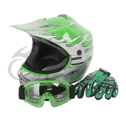 Tengchang Dot Youth & Kids Motocross Offroad Street Helmet Green Flame Motorcycle Helmet+Goggles L