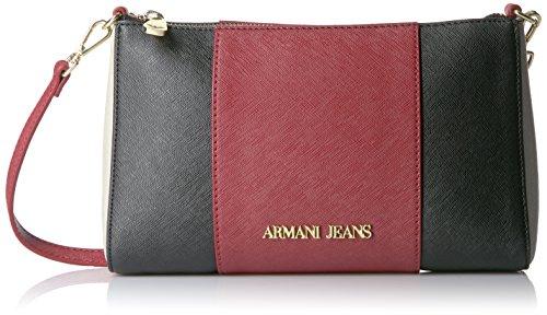 Armani Jeans922544CC857 - Borsa a tracolla Donna , Rosso (Rot (BURGUNDY-NERO-GRIGIO 07276)), 15x6x24 cm (B x H x T)