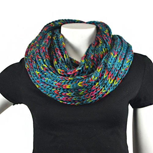 New Women'S Teal 100% Acrylic Scarf - S80-Rainbow