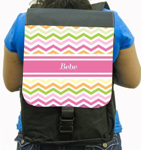 "Rikki Knighttm ""Bebe"" Pink Chevron Name Back Pack front-608188"