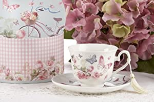 Porcelain Tea Cup and Saucer in Gift Box - Cycle by Delton