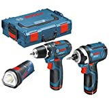 Bosch GSR 10.8-2-LI Drill Driver + GDR 10.8V-LI Impact driver + GLI 10.8-LI LED Torch in L-Boxx (2 Batteries)