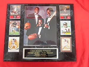 Michael Jordan Walter Payton Andre Dawson 6 Card Collector Plaque w 8x10 RARE Photo... by J & C Baseball Clubhouse