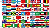 5ft x 3ft (150 x 90 cm) 70 Nations World Countries 100% Polyester Material Flag Banner Ideal For Club School Business Party Decoration Eurovision Olympics World Cup Commonwealth Games