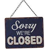 Vintage Style Metal Open Closed Sign on Metal Chain