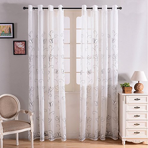 Top Finel Embroidered Butterfly Window Voile Sheer Curtain Panels For Living Room 76 inch Width X 84 inch Length,Single panel,White,Grommets (Sliding Door Semi Sheer Curtains compare prices)