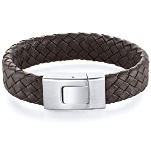 Revoni Mens Buckle Style Brown Woven Leather And Steel Bracelet by Revoni