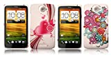 2 X LOVEHEART AND RETRO SWIRLS RUBBERISED PATTERNED HARD BACK CASES FOR HTC ONE X