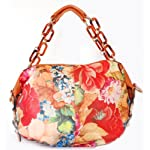 Emperia Orange Leather Handbag Orange and Red Floral