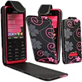 GLITZY GIZMOS PINK & GREY FLOWERS ON BLACK STYLISH PU LEATHER SECURE MAGNETIC FLIP POUCH CASE COVER FOR NOKIA 301 / N301