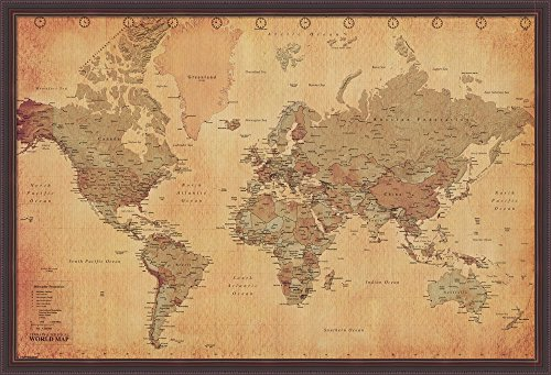World map vintage style poster print gumiabroncs Gallery