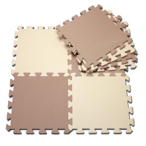 [Soundproofing mats: thick 12 mm matte color joint 30 x 30 cm 8 pieces beige & Mocha ( A995-S2 )
