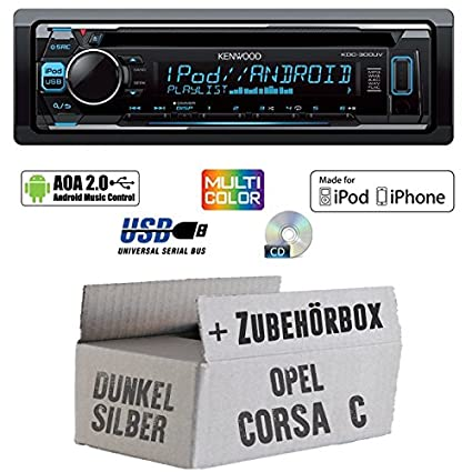 Opel Corsa C grau - Kenwood KDC-300UV - CD/MP3/USB VarioColor Autoradio - Einbauset