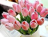 Yidarton 高品質チューリップの造花 手作りブーケ フラワーアレンジ かわいい インテリア飾り 本物みたい ギフト 20本セット 全4色  (ピンク )