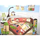 Soho 1234 Jungle Friends Baby Crib Nursery Bedding Set 13 Pcs Included Diaper Bag With Changing Pad Bottle Case